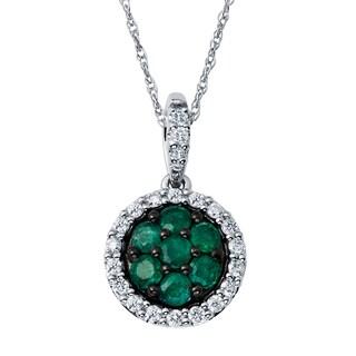 Boston Bay Diamonds 14k Two-tone Gold Emerald and 1/5ct TDW Diamond Halo Circle Earrings (H-I, SI1-SI2)