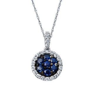 Boston Bay Diamonds 14k Two-tone Gold Sapphire and 1/6ct TDW Diamond Halo Circle Pendant (H-I, SI1-SI2)