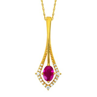 Boston Bay Diamonds 14k Gold Ruby and 1/10ct TDW Diamond Rain Drop Pendant