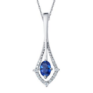 Boston Bay Diamonds 14k White Gold Sapphire & 1/10ct TDW Diamond Pendant w/ Chain - Blue