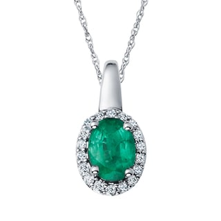 Boston Bay Diamonds 14k Two-tone Gold Emerald and 1/10ct TDW Diamond Halo Oval Necklace (H-I, SI1-SI2)