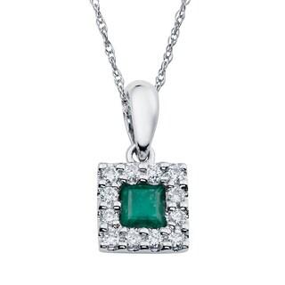 Boston Bay Diamonds 14k Two-tone Gold Emerald and 1/8ct TDW Diamond Halo Square Necklace (H-I, SI1-SI2)