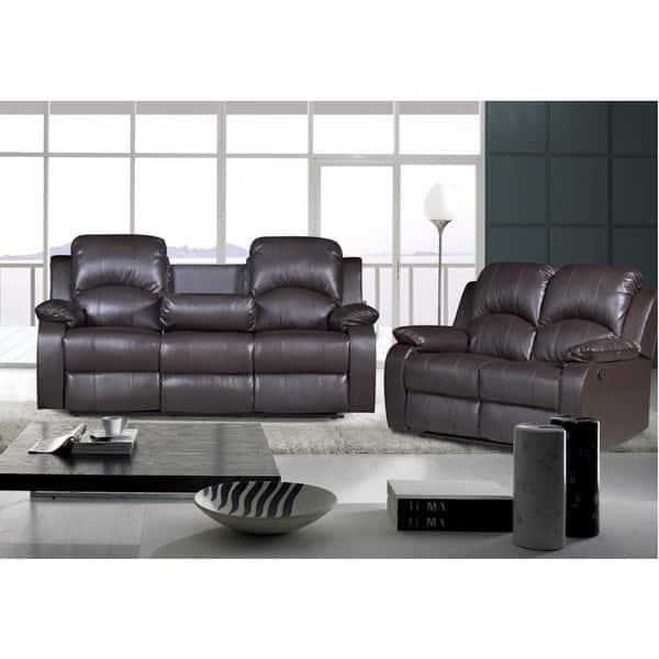 Nadia 2-piece Bonded Leather Recliner Sofa Loveseat Set