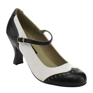 Funtasma Flapper-25 Women's 3-inch Kitten Heel Round Toe Spectator Maryjane Pump