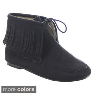 Chase & Chloe Pom-4 Women's Fringe Mocassins Lace Up Flat Ankle Booties