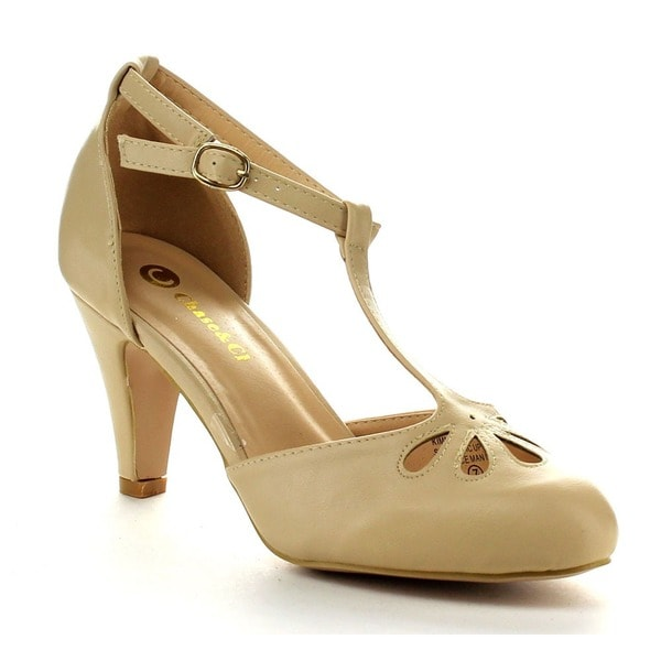 78b5f48a3ac Shop Chase and Chloe Kimmy-36 Women's T-strap Mid Heels - Free ...