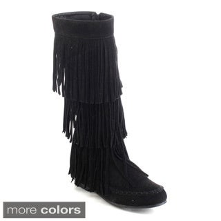 Refresh Jolin-02 Women's Fringe Moccasin Flat Heel Zipper Under Knee High Boots