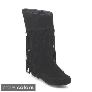 Refresh Jolin-03 Women's Fringe Moccasin Flat Heel Zipper Under Knee High Boots