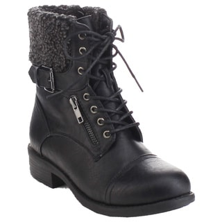 Refresh Women's Lace Up Buckle Strap Boots