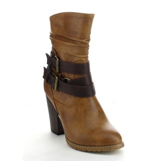 Refresh Laura-03 Women's Slouchy Buckle Side Zipper Chunky Heel Mid Calf Boots