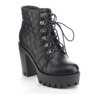 Refresh Fabia-03 Women's Quilted Lug Sole Side Zip Platform Chunky Ankle Booties