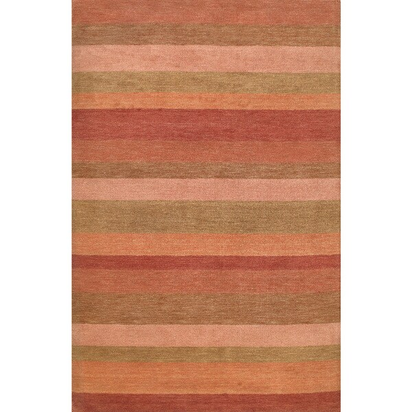 ABC Accents Modern Stripes Wool Rust Multi Rug (9' x 12') - 9' x 12'