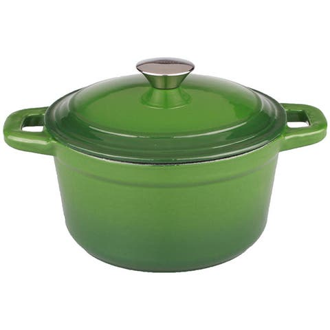BergHOFF Neo 7-quart Cast Iron Green Round Covered Casserole Dish