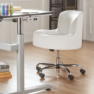 TRIBECCA HOME Bridgeport Ergonomic Contour Adjustable Swivel Modern Accent Chair with Casters