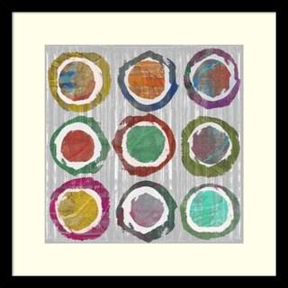 Jennifer Goldberger 'Jagged Circles II' Framed Art Print 17 x 17-inch