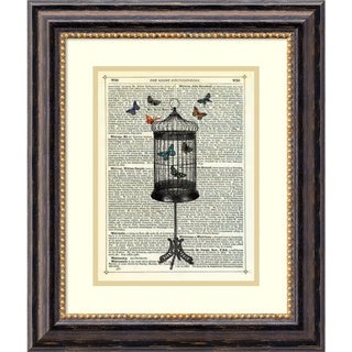 Framed Art Print 'Bird Cage & Butterflies' by Marion McConaghie 17 x 20-inch