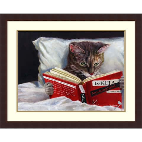 Framed Art Print 'Late Night Thriller (Cat)' by Lucia Heffernan 31 x 25-inch
