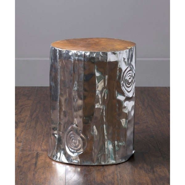 East At Mainu0026#x27;s Stanwood Modern Silver Tempered Drum Stool