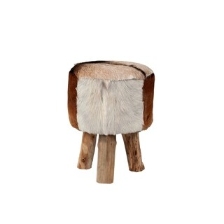 Merrill Modern Brown Natural Drum Stool