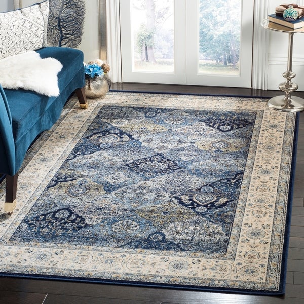 Safavieh Persian Garden Vintage Navy/ Ivory Distressed Silky Viscose Area Rug - 4' x 5'7