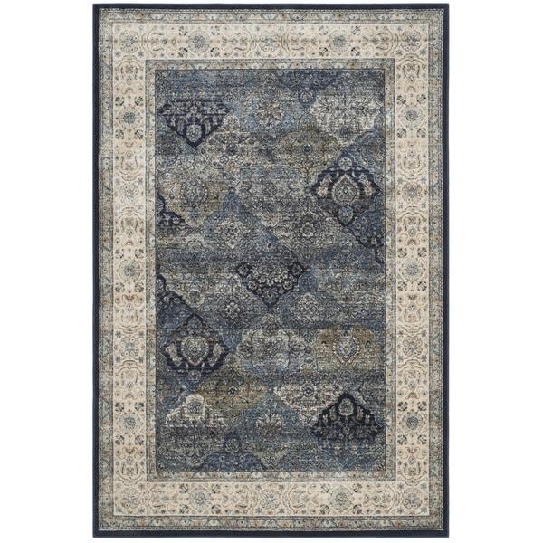 Safavieh Persian Garden Vintage Navy/ Ivory Distressed Silky Viscose Area Rug (4' x 5'7)