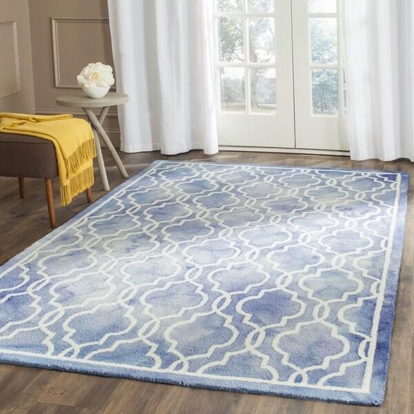Safavieh Handmade Dip Dye Watercolor Vintage Blue/ Ivory Wool Rug (6' x 9')