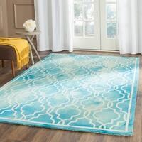 Safavieh Handmade Dip Dye Watercolor Vintage Turquoise/ Ivory Wool Rug - 6' x 9'