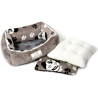 Pet Soft Things Printed Dog Head Flannel Pet Bed with Removable Pillow Cover