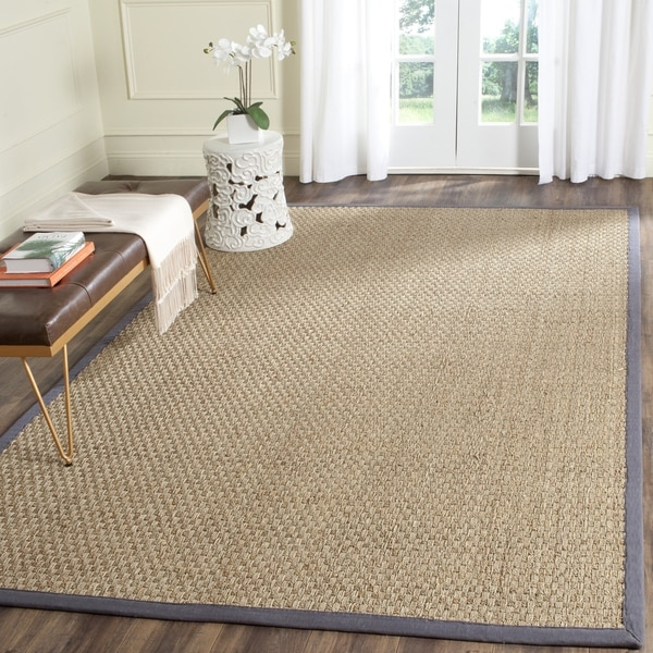 Safavieh Casual Natural Fiber Natural and Dark Grey Border Seagrass Rug - 8' x 10'