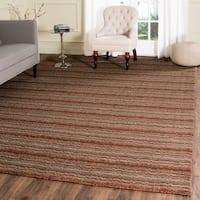 Safavieh Handmade Himalaya Brown/ Multicolored Wool Stripe Area Rug - 8' x 10'