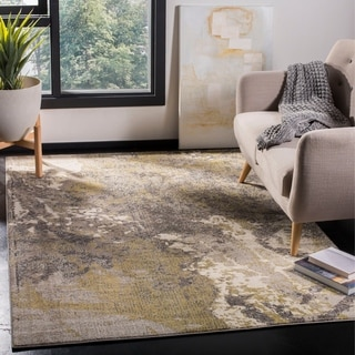 Safavieh Monaco Modern Abstract Ivory / Grey Distressed Rug (6'7 x 9'2)