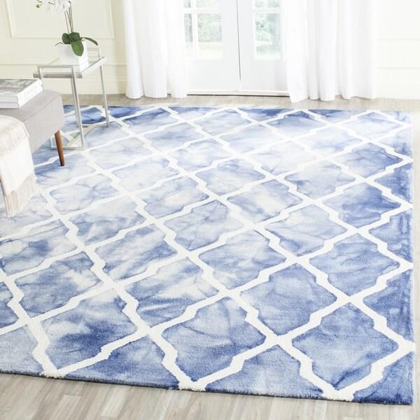 Safavieh Handmade Dip Dye Watercolor Vintage Blue/ Ivory Wool Rug (8' x 10')