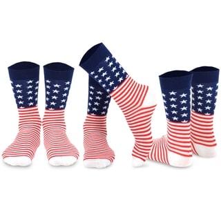 Novelty Fashion Socks American Flag Men's 3 Pairs Cotton Crew Socks, Size 10-13