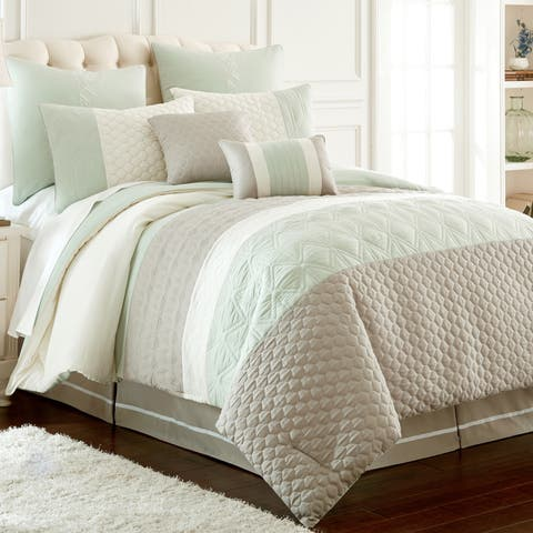 Amrapur Overseas Palisades Embroidered 8-Piece Comforter Set - Blue/Grey