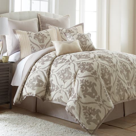 Amrapur Overseas Sofia 8-piece Queen Size Embroidered Comforter Set in Tan