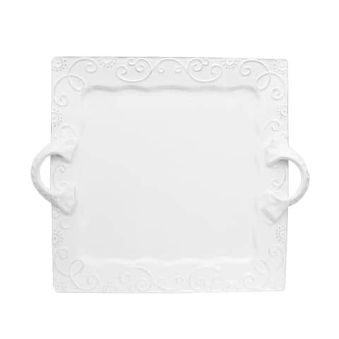 American Atelier Mina White Square Platter