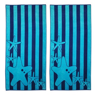 Superior Oversize Jacquard Cotton Beach Towels - Starfish-Blue (Set of 2) - 34 x 65
