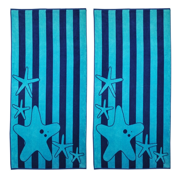 Superior Oversize Jacquard Cotton Beach Towels - Starfish-Blue (Set of 2)