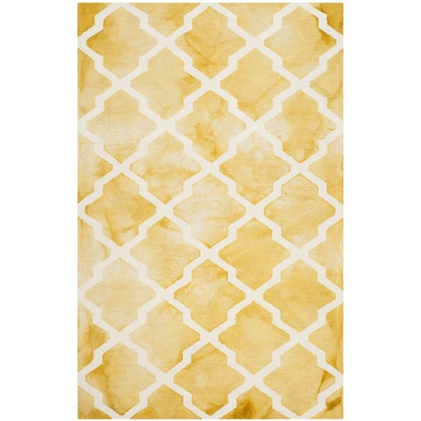 Safavieh Handmade Dip Dye Watercolor Vintage Gold/ Ivory Wool Rug - 8' x 10'
