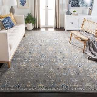 Safavieh Evoke Vintage Dark Grey / Yellow Distressed Rug (6'7 x 9')