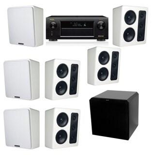M&K Sound MP300 White Monitor Speaker 7.1 HRS12 Denon AVR-X5200W