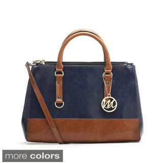 Emilie M Kimberley Two-tone Double Zipper Satchel