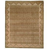 Safavieh Hand-knotted Nepalese Green/ Brown Wool/ Silk Rug - 4' x 6'
