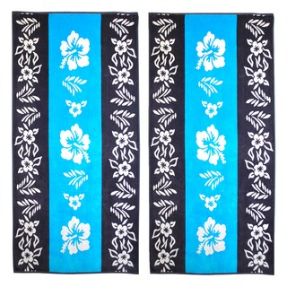 Superior Oversize Jacquard Cotton Beach Towels - Hibiscus-Blue (Set of 2)