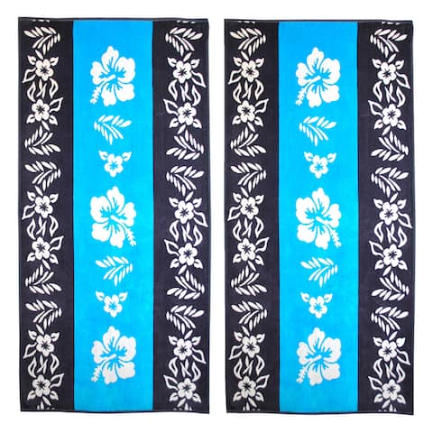 Superior Oversize Jacquard Cotton Beach Towels - Hibiscus-Blue (Set of 2)