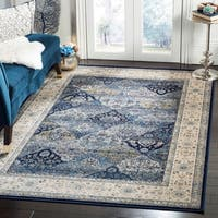 "Safavieh Persian Garden Vintage Navy/ Ivory Distressed Silky Viscose Area Rug - 5'1"" x 7'7"""