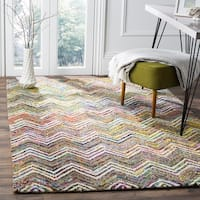 Safavieh Handmade Nantucket Abstract Chevron Beige/ Grey Cotton Rug - 4' x 6'