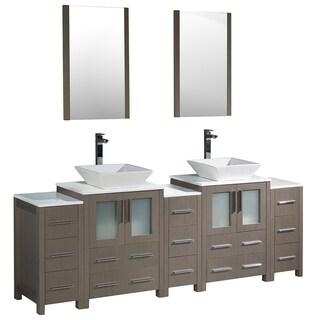 Fresca Torino 84-inch Grey Oak Modern Double Sink Bathroom Vanity with 3 Side Cabinets and 2 Vessel Sinks