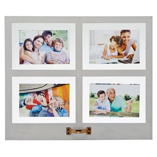 Melannco Distressed Gray 4 Opening Floating Collage Picture Frame
