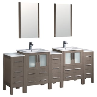 Fresca Torino 84-inch Grey Oak Modern Double Sink Bathroom Vanity with 3 Side Cabinets and 2 Integrated Sinks
